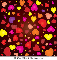 Valentine card with colored hearts on seamless background, vector illustration