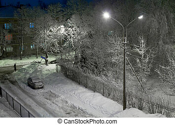 Snowy winter evening - peaceful snowy winter evening on a...