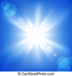 Blue sky - Sun on a blue sky Vector illustration