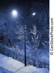 Winter street At Night - Winter street at night and shining...