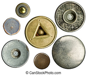 Jeans buttons  - Metal jeans buttons set, isolated