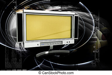 LCD Monitor - Digital illustration of LCD Monitor in colour...