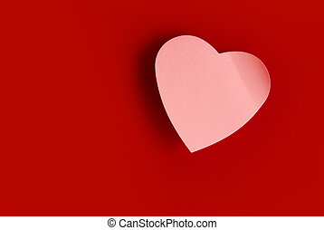 Heart shaped post it - Background of one heart-shaped pink...