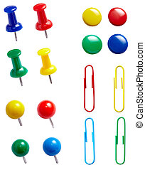push pins - collection of various pushpins on white...