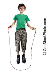 The boy jumping rope, isolated - A boy in a green shirt...