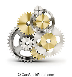 gears - Metal polished gears 3d image Isolated white...