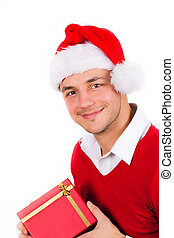 young men in red christmas clothes and gift box - funny...
