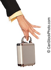 Metal case with contracts and money - woman giving a silver...