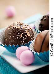 Chocolate - Close up of chocolate pralines with shallow...