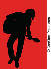 Musician (guitar player) silhouette on red background.