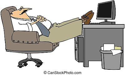 Man Asleep At His Desk - This illustration depicts a man...