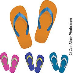 Flip flop set. Vector illustration on white background