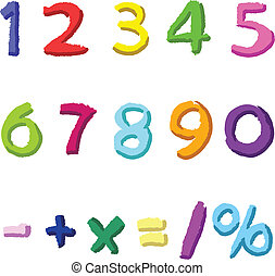 Colorful hand drawn numbers - Colorful hand drawn vector...