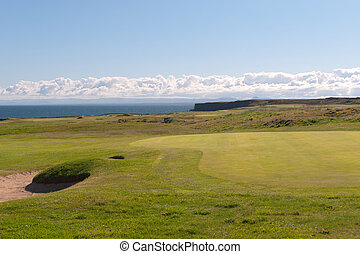 Golf Course overlooking the sea in Iceland