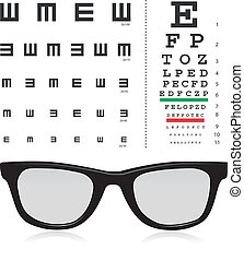 Test Eye - vector Snellen eye test chart with glass isolated...