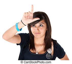Girl Making the Loser Sign on her Forehead - Cute Latino...
