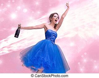 Lovely brunette in blue dress