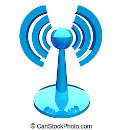 Wifi (wireless) blue modern icon isolated over white...