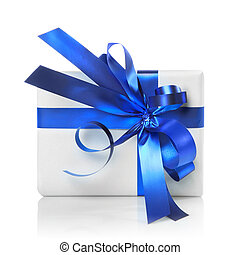 Holiday gift with blue ribbon isolated on white