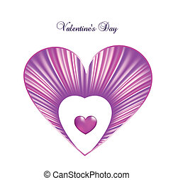 Valentine day card template with heart. Vector