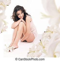 piernas, hermoso, niña, Lirio