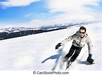 Esquiador, alto, montañas, -, alpino
