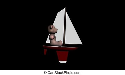 Teddy Bear on a Sailboat