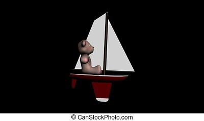 Teddy Bear on a Sailboat
