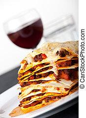 closeup, lasagne, rouges, vin