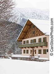 Bavarian house in snow winter