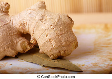 Ginger root with leaf