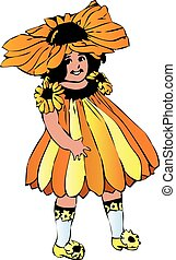 Black-eyed Susan or Rudbeckia hirta girl-flower - Rudbeckia...