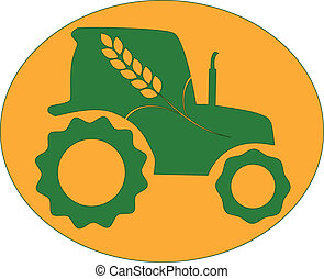 green tractor with spike in orange background