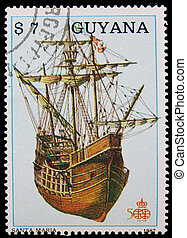 postage stamp - stamp printed in Guyana showing ancient...