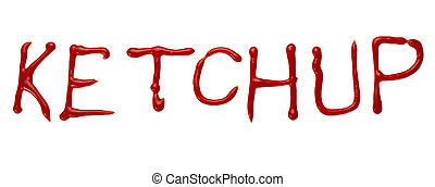 ketchup letter word seasoning condiment food - close up of...
