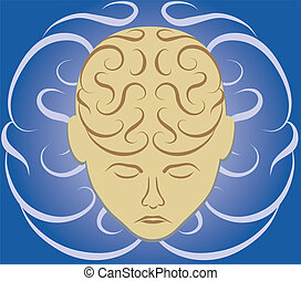 Brain Maze - A bowed head with a brain depicted as a maze or...