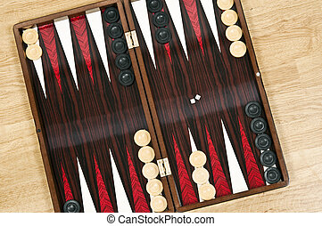 Backgammon board ready to start