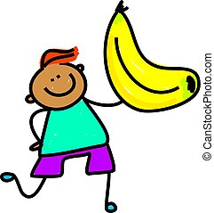 Banana Kid - Cute cartoon whimsical illustration of a happy...