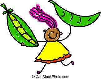 Peapod Kid - Cute cartoon whimsical illustration of a happy...