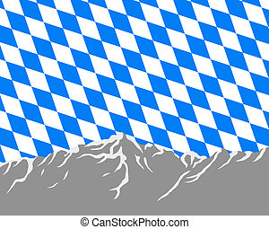 Mountains with flag of Bavaria