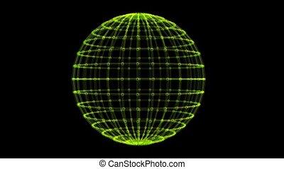 Grid Pattern on Rotating Sphere