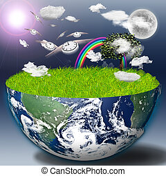 Eco Time  - Half earth with green grass and landscape