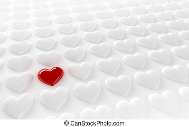 Lonely heart - Red heart in between many white hearts