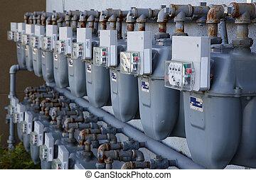 Row of gas meters