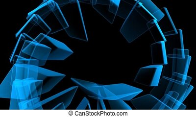 Blue Shapes In a Spin
