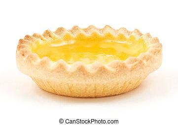 Lemon Tart - One single lemon tart, isolated on white