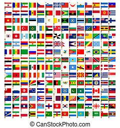 mondiale, drapeau, icônes, ensemble
