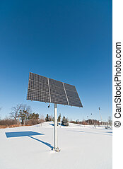 Renewable Energy - Photovoltaic Solar Panel Array in Winter