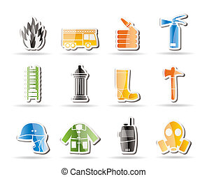 Simple fire-brigade and fireman equipment icon - vector icon...