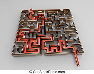 labyrinthe issue - 3d illustration of clever strategy...